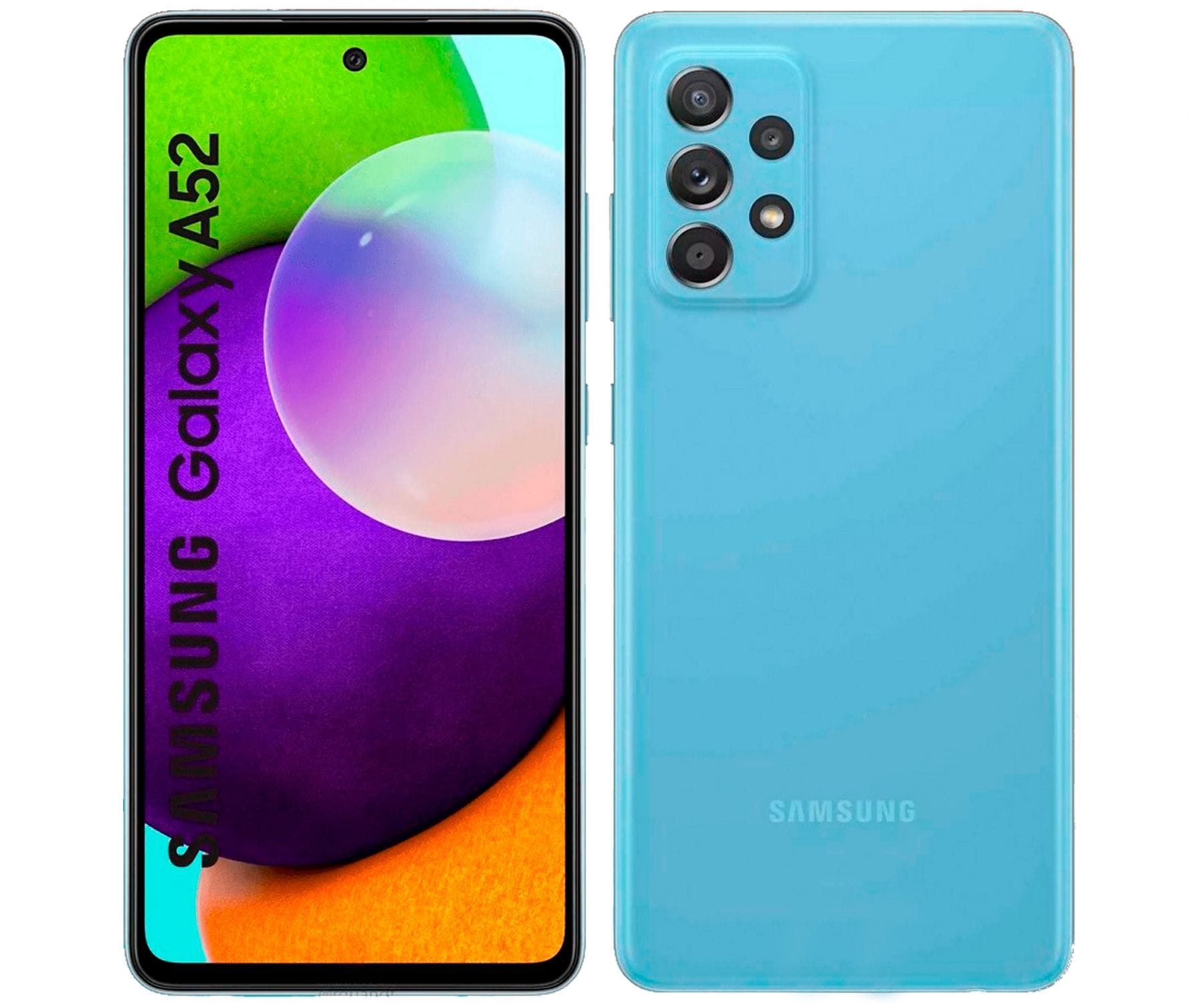 SAMSUNG GALAXY A52 AZUL MÓVIL 4G DUAL SIM 6.5'' 90Hz FHD+ OCTACORE 128GB 6GB RAM QUADCAM 64MP SELFIES 32MP