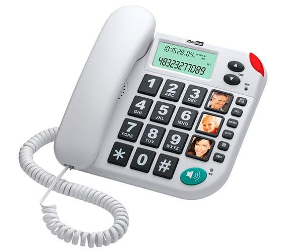 MAXCOM KXT-480 BLANCO TELÉFONO FIJO TECLAS GRANDES 3 MEMORIAS