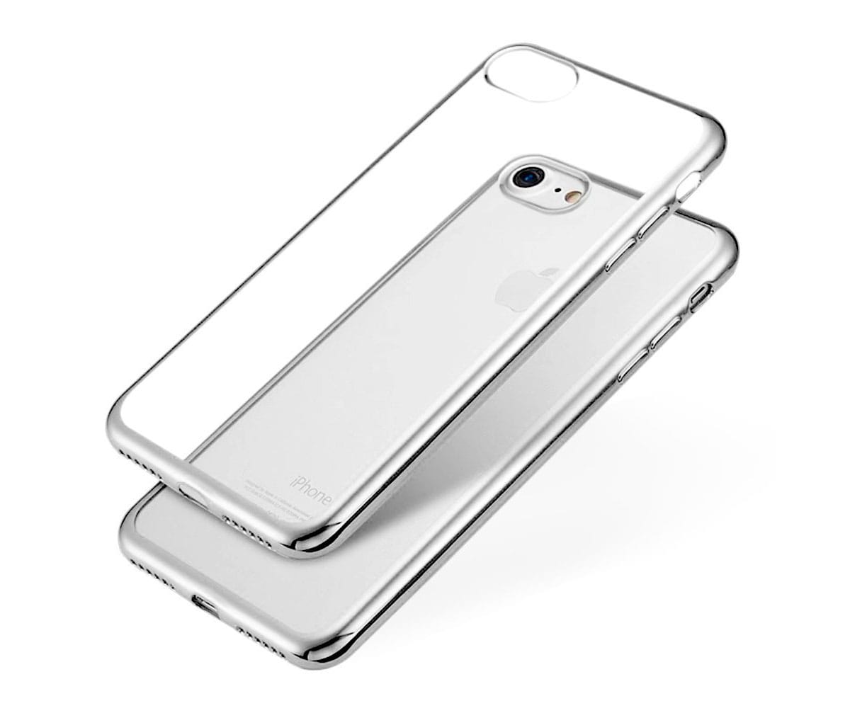 JC CARCASA TRANSPARENTE CON BORDE PLATA APPLE IPHONE 7/8
