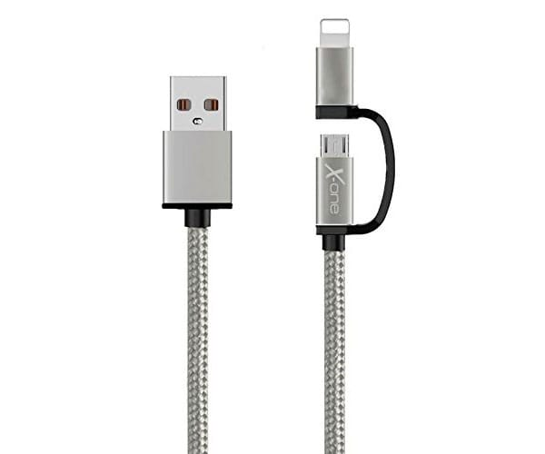 X-ONE CDL1000 PLATA CABLE TRENZADO DE NYLON 2 EN 1 USB 2.0 A MICRO USB + LIGHTNING