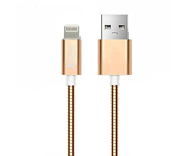 X-ONE CML1000 ORO ROSA CABLE TRENZADO METAL CON PUERTO LIGHTNING A USB 2.0 TIPO A