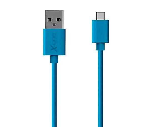 X-ONE CPC1000 AZUL CABLE CONECTOR PLANO CON PUERTO USB TIPO C A USB 2.0 TIPO A - CPC1000 AZUL