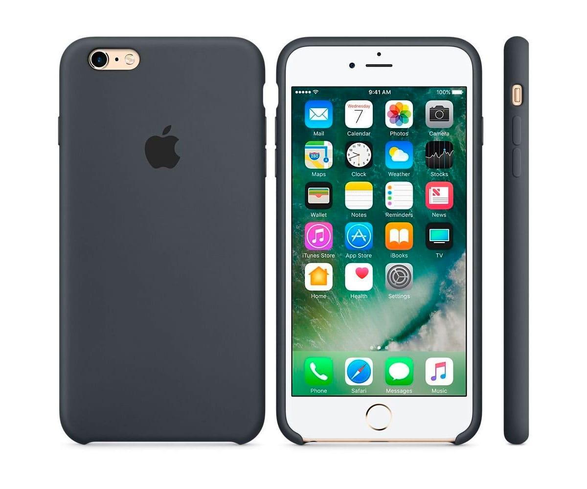 APPLE MKXJ2ZM/A GRIS CARBÓN CARCASA DE SILICONA IPHONE 6S PLUS/ 6 PLUS - Esta funda de silicona, diseñada especialmente por Apple para el iPhone, se adapta perfectamente a los botones de volumen, el botón lateral y las curvas del teléfono, y no abulta nada. El forro de suave microfibra protege tu iPhone y la silicona exterior tiene un tacto tan agradable que te va a sorprender. Además puedes dejar la funda siempre puesta, incluso durante la carga inalámbrica del iPhone 8.