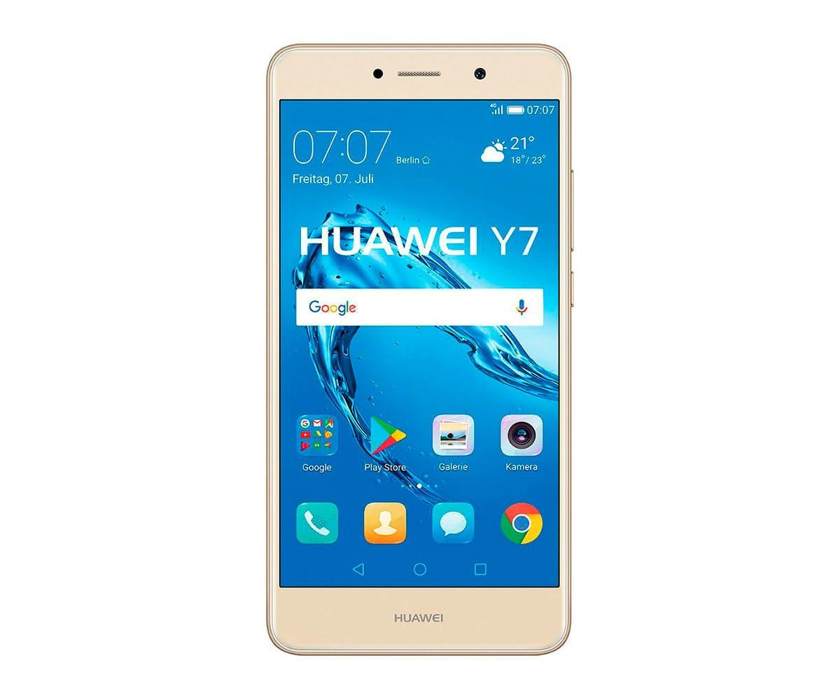 HUAWEI Y7 DORADO MÓVIL 4G DUAL SIM 5.5 IPS HD/8CORE/16GB/2GB RAM/12MP/8MP - Teléfono móvil HUAWEI Y7 con acabado color dorado, conectividad 4G, Dual SIM, pantalla de 5.5 pulgadas IPS LCD con resolución HD de 1280 x 720 píxeles, sistema operativo Android versión 7.0 Nougat + EMUI versión 5.1, procesador de ocho núcleos Snapdragon 435 a 1.4GHz, controlador gráfico Adreno 505, 16GB de memoria interna (ampliables hasta 128GB a través de ranura microSD), 2GB de memoria RAM, cámara principal de 12MP con apertura f/2.2, flash LED y grabación de vídeos en resolución Full HD de 1920 x 1080 píxeles, cámara secundaria de selfies de 8MP con apertura de f/2.0, batería de 4.000mAh, conectividad inalámbrica WiFi 802.11n, Bluetooth 4.1, radio FM, A-GPS, GLONASS y reproductor multimedia.