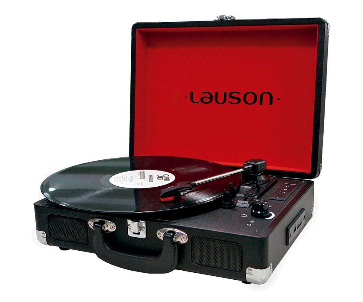 LAUSON CL603 NEGRO TOCADISCOS VINTAGE MALETÍN CON BLUETOOTH Y FUNCIÓN GRABADOR DE VINILO A USB EN MP