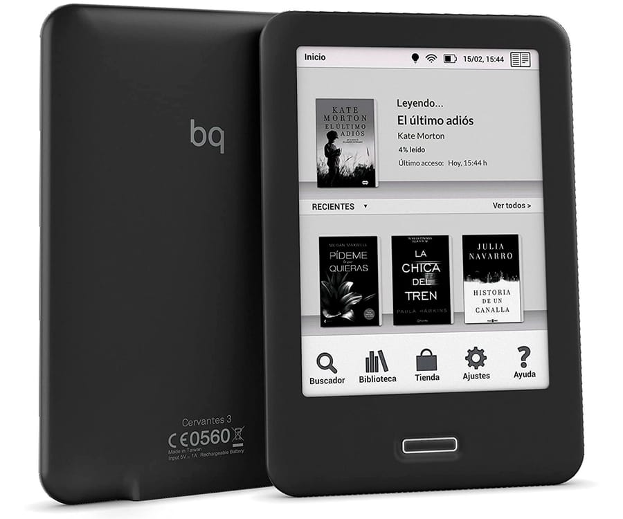 BQ CERVANTES 3 NEGRO EBOOK READER 6'' E INK CARTA WIFI 8GB INTERNOS 512MB RAM