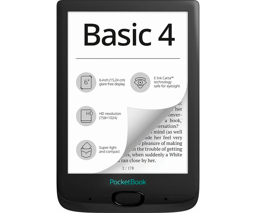 POCKETBOOK BASIC4 NEGRO E-BOOK LIBRO ELECTRÓNICO 6'' E INK CART HD 8GB RANURA MICROSD