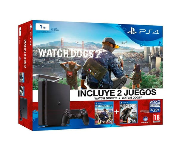 SONY  PLAYSTATION 4 SLIM 1TB + WATCHDOGS 1 y 2