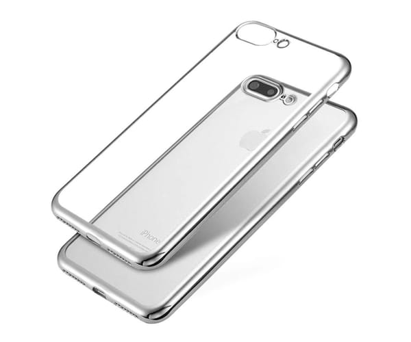 JC CARCASA TRANSPARENTE CON BORDE PLATA APPLE IPHONE 7/8 PLUS