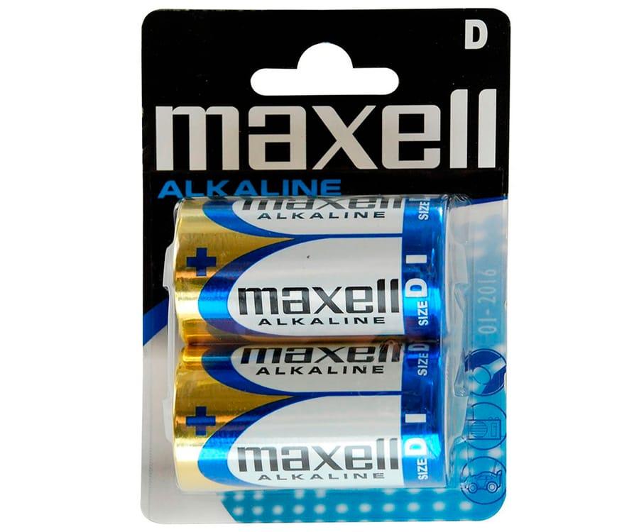 MAXELL PILA ALCALINA LR20 D 1.5V BLISTER DE 2 UNIDADES