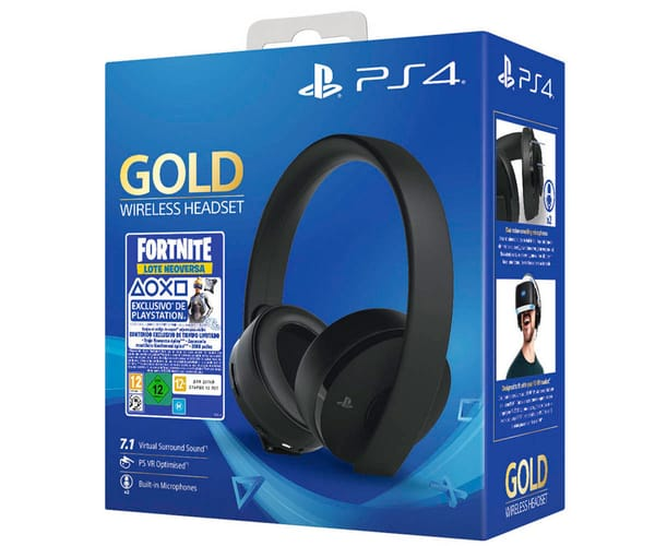 SONY GOLD WIRELESS HEADSET FORTNITE AURICULARES NEGROS INALÁMBRICOS LOTE NEO VERSA FORTNITE