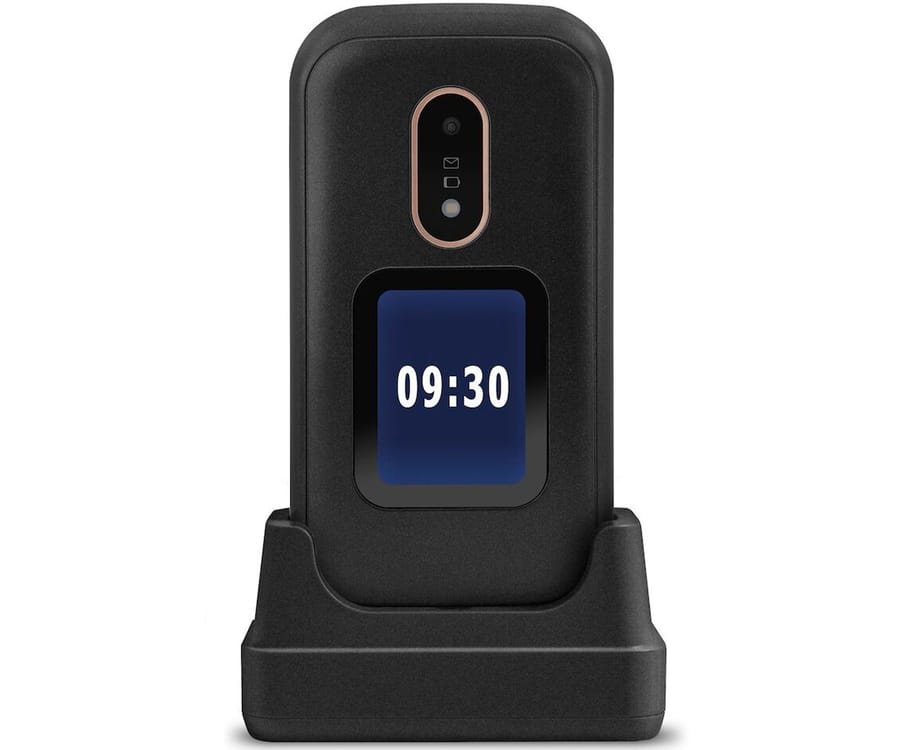 DORO 6060 BLACK MÓVIL SENIOR 2.4'' PANTALLA DE NOTIFICACIONES CÁMARA 2MP MICRO SD INCLUYE BASE DE CARGA