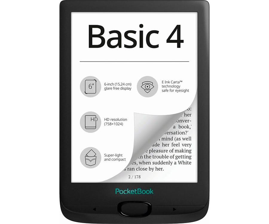 POCKETBOOK BASIC4 NEGRO E-BOOK LIBRO ELECTRÓNICO 6'' E INK CART HD 8GB RANURA MICROSD