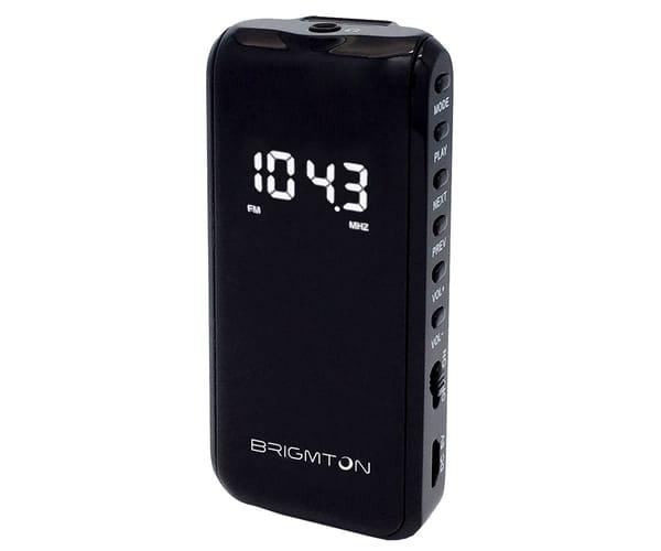 BRIGMTON BT124 NEGRO RADIO FM/SD/MP3 PORTÁTIL 40 PRESINTONIAS CON AURICULARES